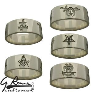 Custom Masonic 8mm band ring with 5 laser cut emblems