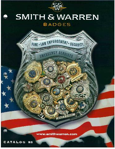 smith and warren catalog cover full line manufacturer or law enforcement, public safety, and security badges