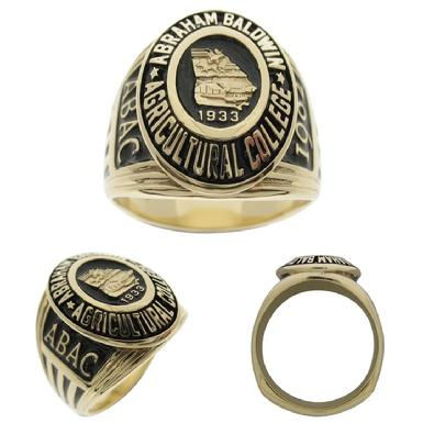 Custom Abraham Baldwin Agricultural College class ring in 14k yellow gold.