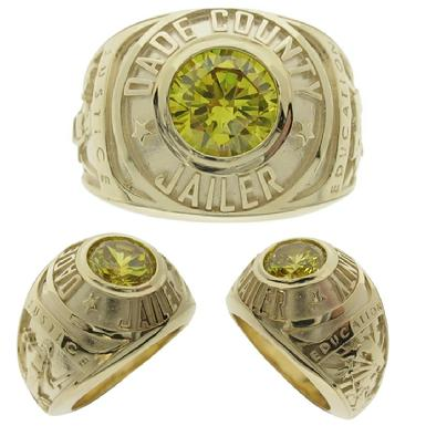 Custom Dade County (FL) Jailer class style ring in 10k yellow gold with large yellow faceted center stone.