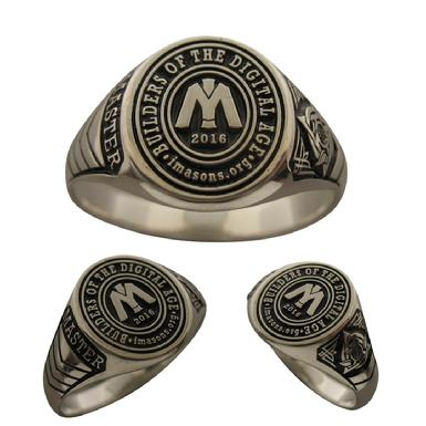 Custom organizational achievement rings in sterling silver