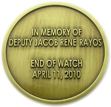 Commemorative die struck coin for the Reeves County Sheriff's Office, Pecos, Texas-reverse side