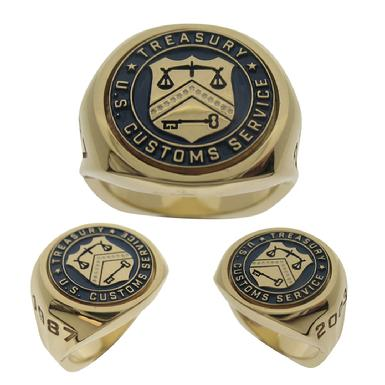 Custom U.S. Customs Service Department of the Treasury badge seal ring in 10k yellow gold with blue enamel.