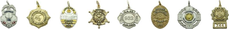 police & fire badge jewelry pendants, charms, and custom badges in sterling silver, 10k or 14k yellow and white gold